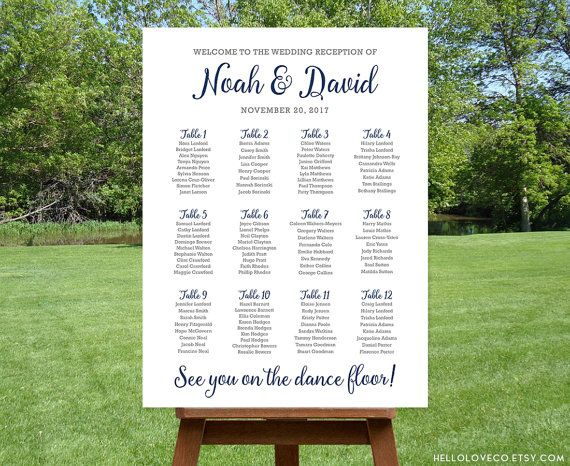 PRINTABLE Large Wedding Seating Chart, See You on the Dance Floor Personalized Table Chart, Navy Blue and White Wedding Reception, DIGITAL
