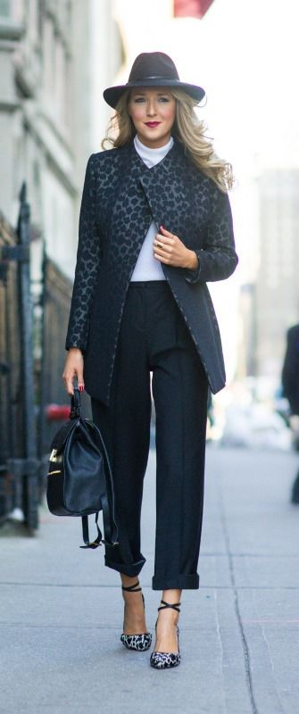 wide brim black wool hat, black and grey leopard print coat, high waisted black wool wide leg trousers, ivory turtleneck, leather backpack, snow leopard ankle strap pumps  |  http://www.theclassycubicle.com/2014/09/in-flux.html