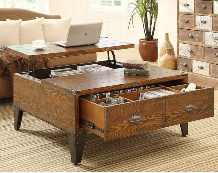 Add furniture that does double duty such as a coffee table that also serves as a storage chest to contain items in the room where they're used. love it!