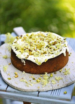 Elderflower cake decorated with real flowers