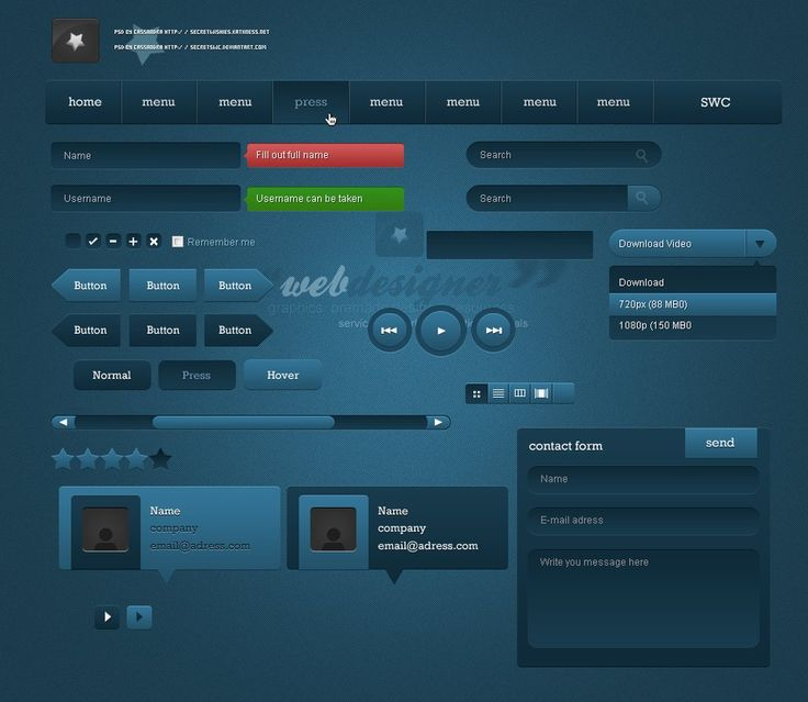 Dark Blue PSD UI