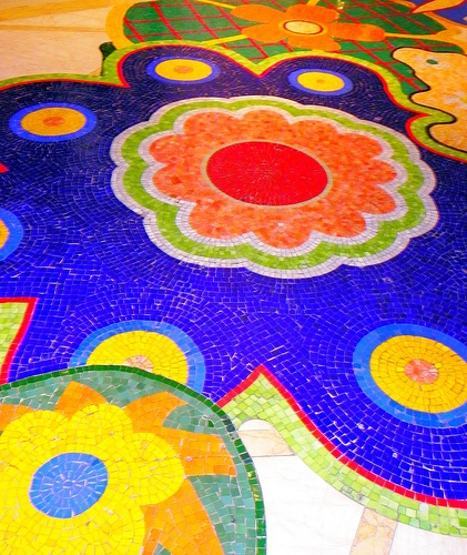 HAPPY FLOOR    Share the joy of color, walking on this beautiful hand crafted mosiac tile floor