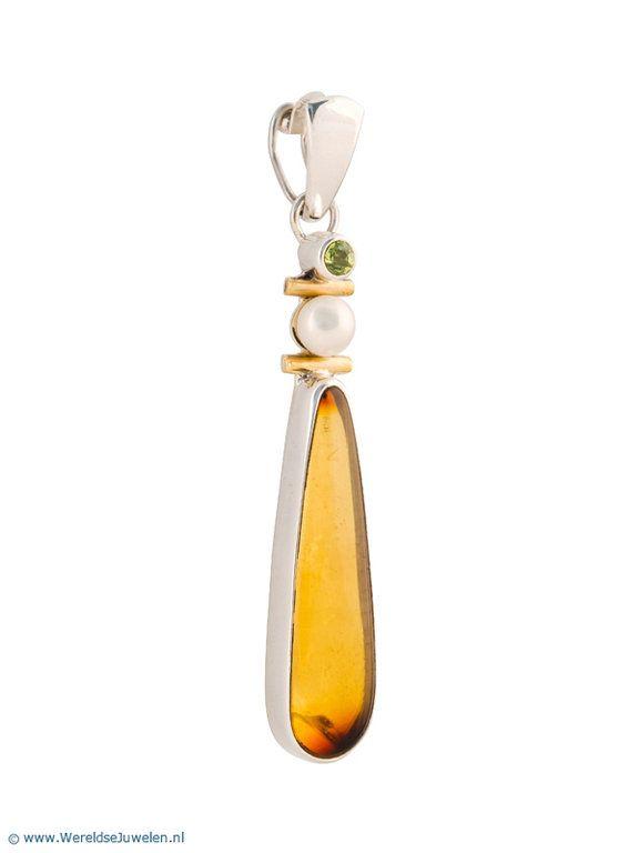 Zilveren Hanger - Mexicaanse zilveren hanger met amber en parel