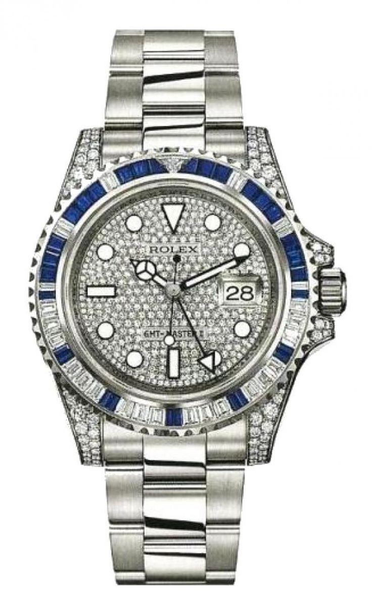 Rolex 116759SA Pave GMT-Master II 40mm White Gold Jewellery - швейцарские мужские наручные часы Ролекс - золотые часы