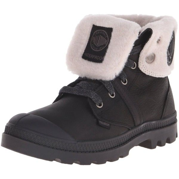 Palladium Women's Pallabrouse Baggy WPS Rain Boot (220 ILS) ❤ liked on Polyvore featuring shoes, boots, rain boots, waterproof rain boots, lace-up rain boots, leather lace up boots and lace up rubber boots