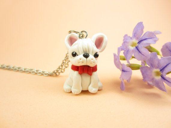 White French Bulldog Necklace - dog jewelry, bulldog,miniature animal dog