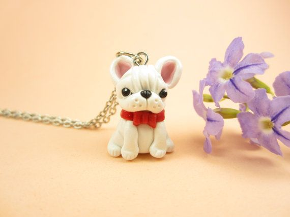 White French Bulldog Necklace - dog jewelry, bulldog,miniature animal dog
