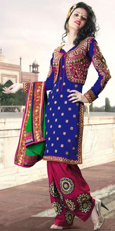 $129.10 Blue Full Sleeve Faux Georgette Knee Length Punjabi Salwar Kameez 21729