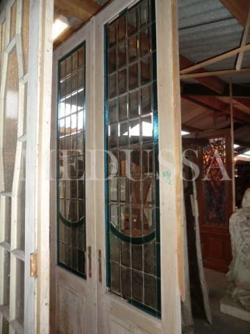 Deu-253 dubbele deur met loodglas 1m50cm breed 3m hoog