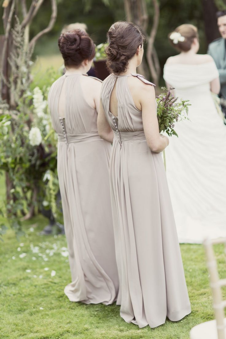 Image by Craig & Eva Sanders Photography - Ian Stuart Frederique and Rachel simpson mimosa shoes for a rustic wedding in Scotland with light mocha bridesmaids dresses, a neutral colour scheme and DIY details