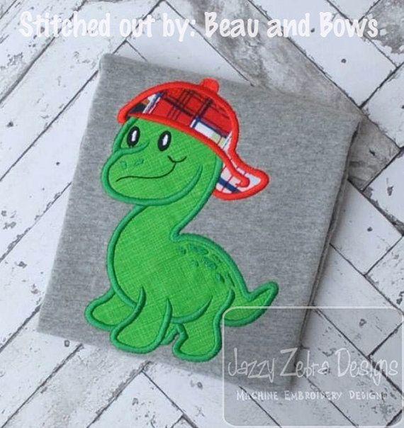 Dinosaurio con gorra de béisbol de apliques bordados  diseño
