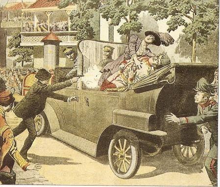 """Primera Guerra Mundial 1914- 1919. Comienzo por el asesinato del archiduque Francisco Fernando, heredero de la corona austriaca, en Sarajevo en Junio 1914 por parte de una organización nacionalista serbia """" Mano Negra"""""""