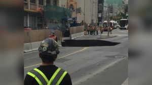 Sinkhole on Rideau Street, Ottawa, Ontario, Canada ... The link from ctv.ca includes a video where you can see a van falling into the hole. I hope no one was hurt.