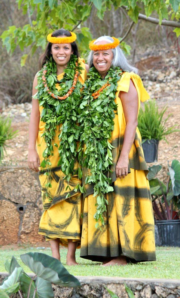 "Kumu Hula Mapuana de Silva and her daughter, Kapalai'ula de Silva. Mapuana's halau, Halau Mohala Ilima has very often placed first at the ""Merry Monarch Festival"", in Hilo, Hawaii."