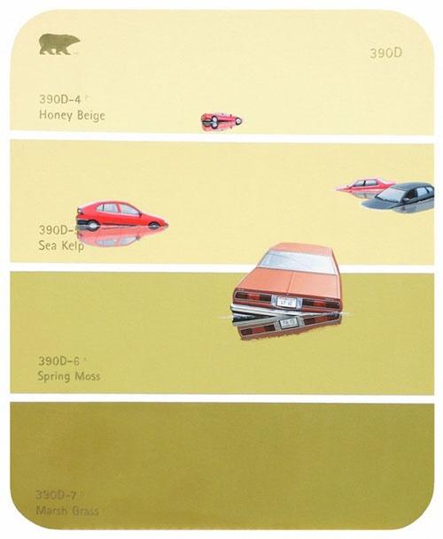Shawn Huckins Paint Chip Series Flood Cars 2009