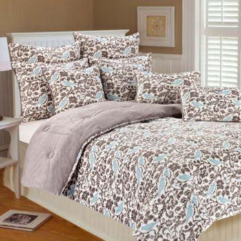 Thro Microplush Selma Bird Reversible Comforter Set