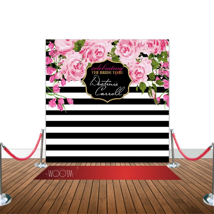 A personal favorite from my Etsy shop https://www.etsy.com/listing/471149079/stripes-and-floral-bridal-shower-8x8  Kate Spade inspired Step and Repeat Banner Backdrop