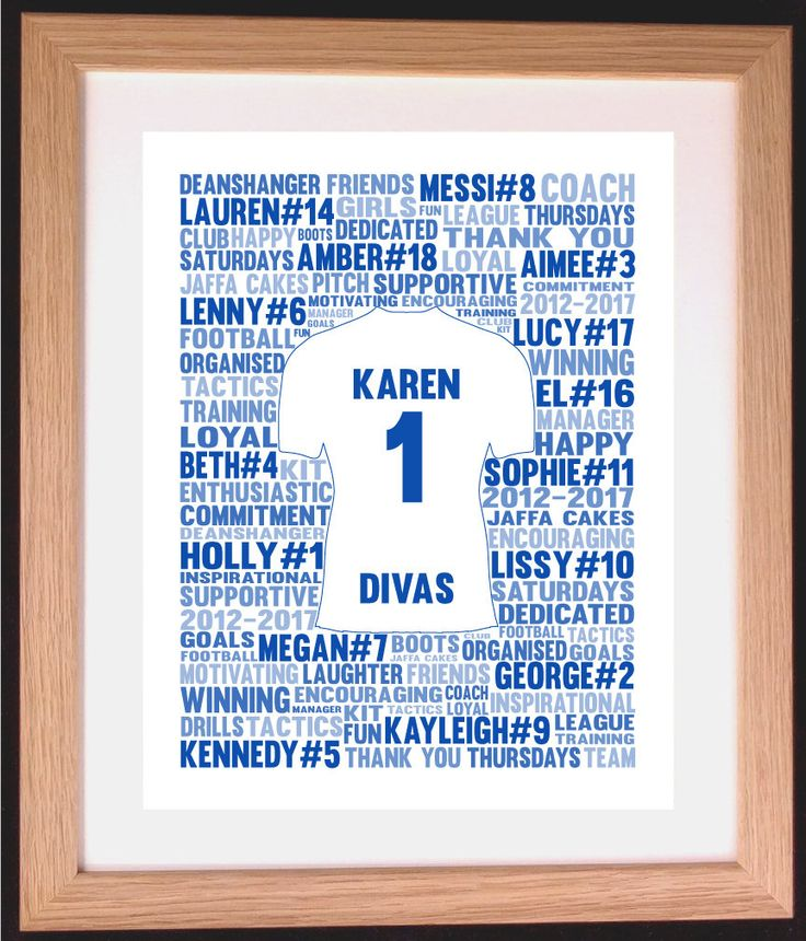 Personalised Football / Soccer Shirt Word Art Gift by ArtyAlphabet on Etsy