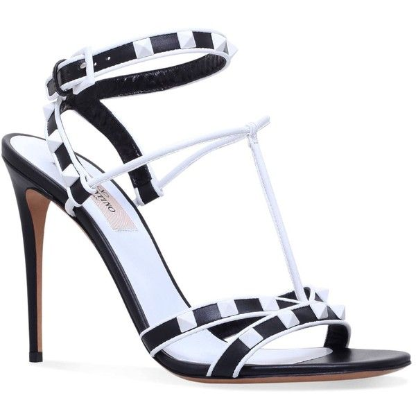 Valentino Leather Rockstud Sandals 105 (€705) ❤ liked on Polyvore featuring shoes, sandals, valentino shoes, valentino sandals, leather footwear, multi-strap sandals and leather sandals