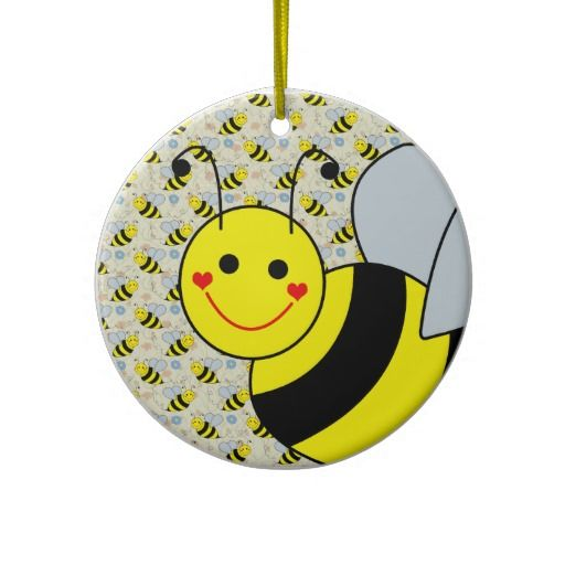 Cute Bumble Bee Ceramic Ornament