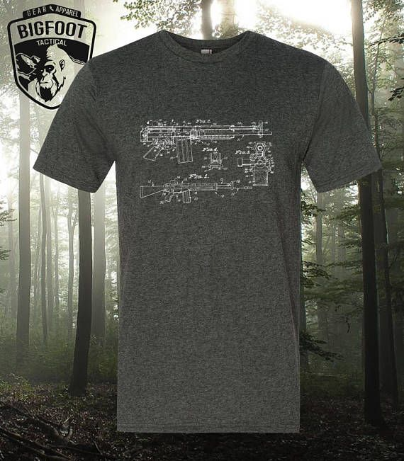 Stoner 63 Machine Gun Patent Blueprint Drawing Shirt  Pistol