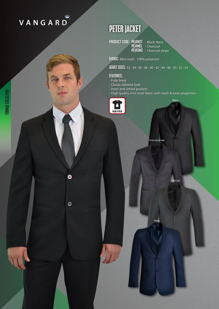 The PETER jacket has been designed with three words in mind: sleek, classic and tailored. Full lining and jetted pockets complete this corporate must-have.  FABRIC: Mechanical stretch mini matt - 100% polyester  FEATURES: - Fully lined - Jetted pockets - Inner pockets - High quality mechanical stretch fabric with wash & wear properties  ADULT SIZES: 38 - 40 - 42 - 44 - 46 - 48 - 50