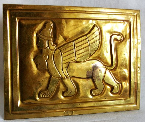 Brass relief picture features the chimera from Ancient Anatolian mythology. The Neo-Hittite Chimera with the winged body of a lioness also has a