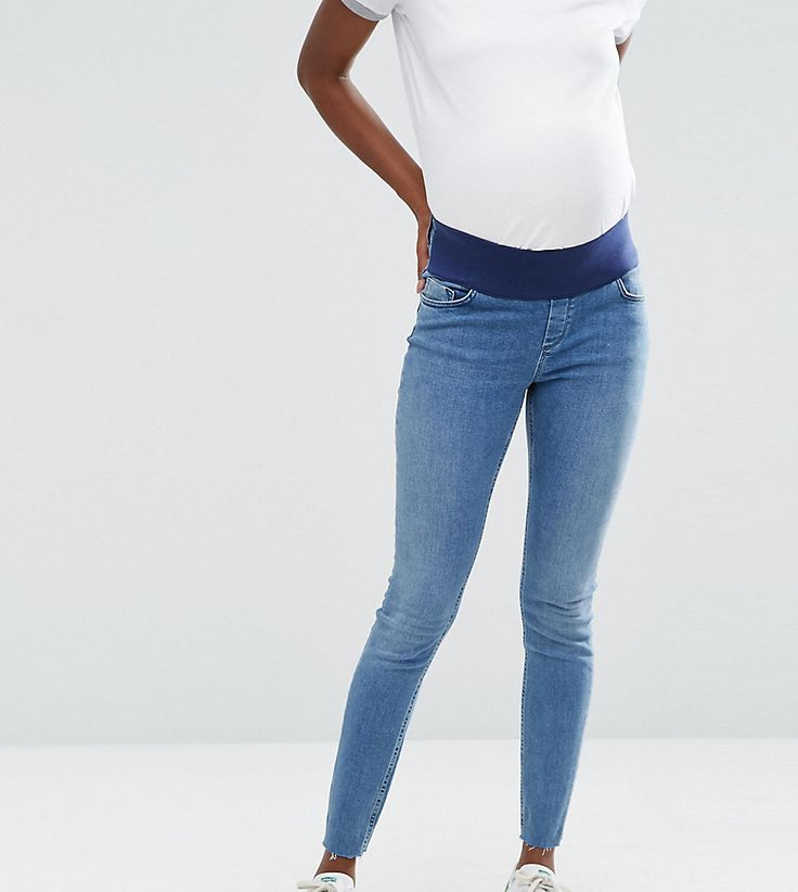 ASOS Maternity Lisbon Skinny Jeans in Lara Mid Stone Wash with Stepped