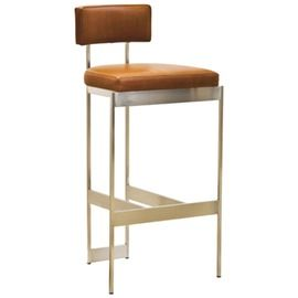 Alto Stool By Powell Bonnell MidCentury Modern, Transitional, Upholstery  Fabric, Metal, Leather