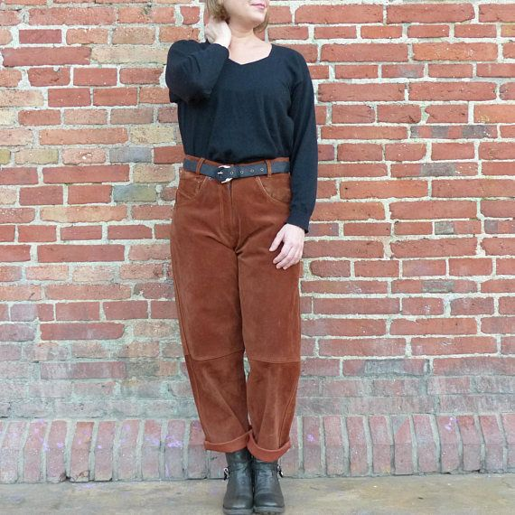 Vintage 80s Brown Real Leather Suede High Waisted Tapered Ankle Pants Straight  Medium Vintage leather Christmas gift for
