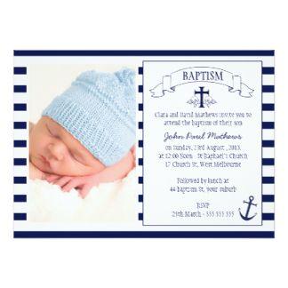 Modern Photo Navy Blue Nautical Baptism Invitation