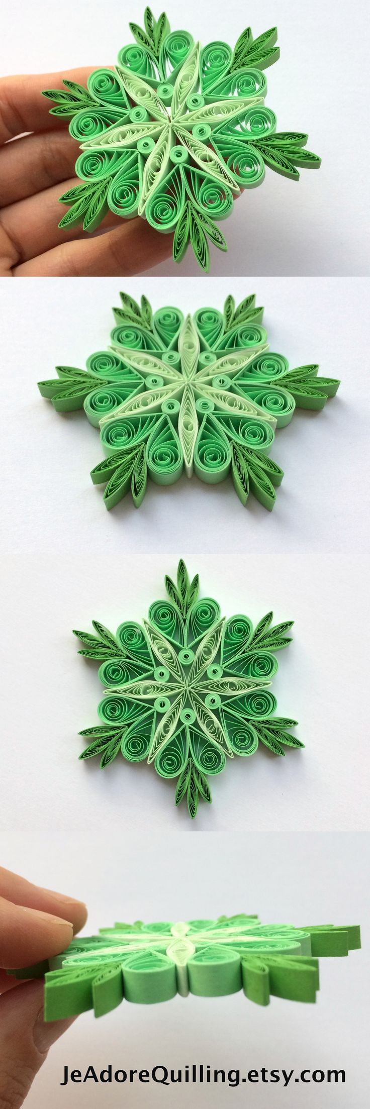 Snowflakes Green Christmas Tree Decorations Winter Ornaments Gift Toppers Fillers Office Corporate Paper Quilling Quilled Handmade Art
