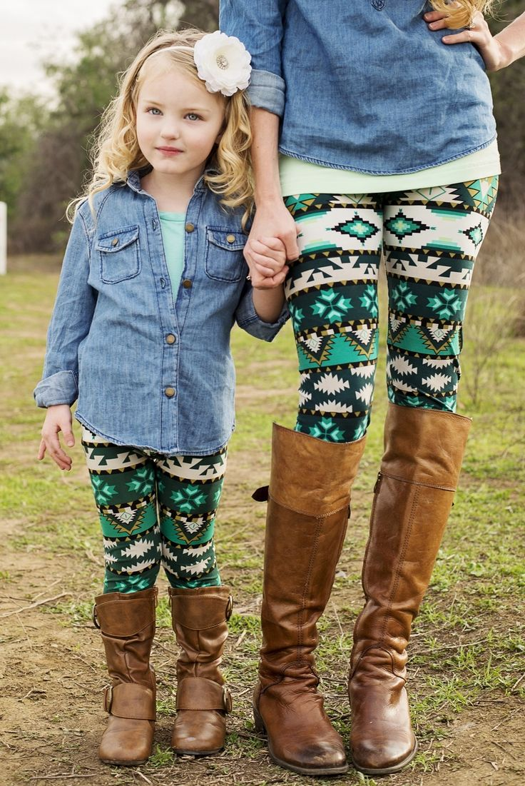 GroopDealz | Mommy & Me Leggings - Green & White Tribal #leggings #aztecleggings #mommyandmeapparel