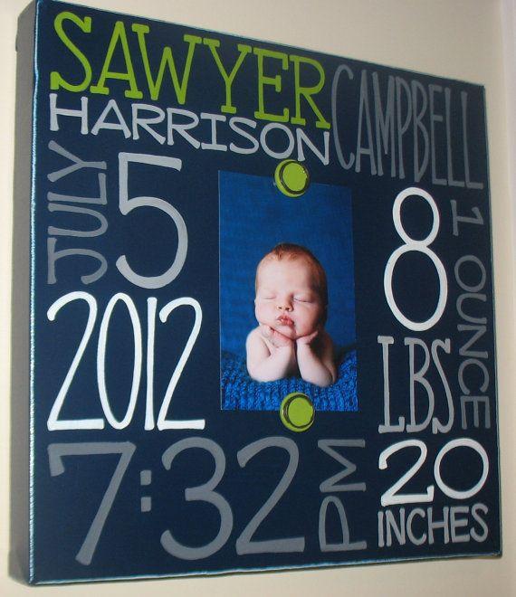 Baby birth information canvas frame 10x10