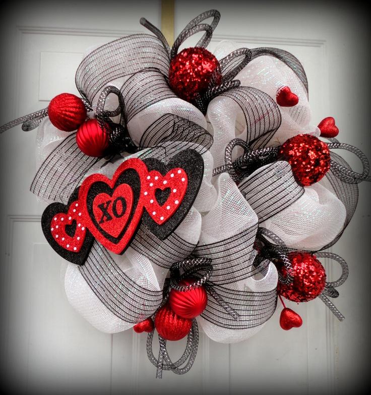 Valentines Deco Mesh Wreath - Mesh Wreath - Valentines Door Hanging - Door Decor - Deco Mesh Wreath. $65.00, via Etsy.