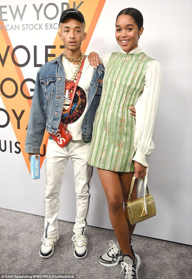 New pals: Jaden posed for photos with actress and model Laura Harrier, 27, who wore a tuni...