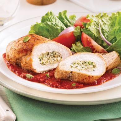 Poitrines de poulet farcies au brocoli et fromage à la crème - Soupers de semaine - Recettes 5-15 - Recettes express 5/15 - Pratico Pratique