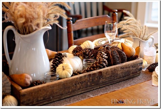 """Build this box out of pallet wood and use for center of dining table.  Change out """"filler"""" for the seasons."""
