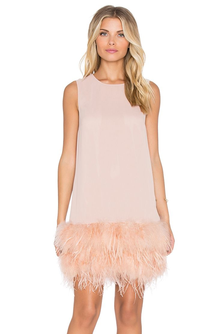 Hoss Intropia Feathered Mini Dress in Pink