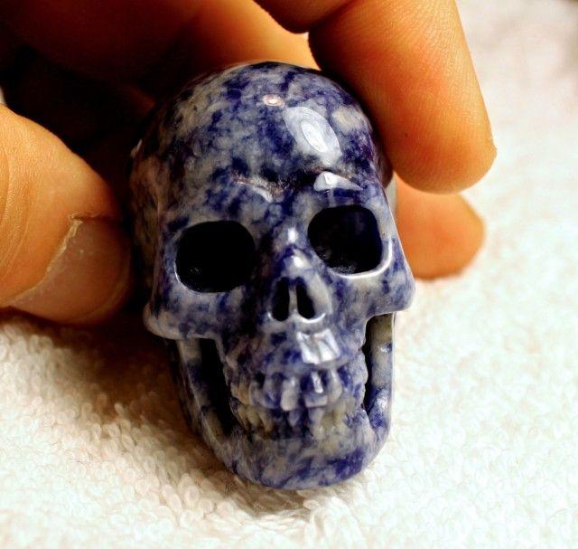 425.5 Carat Sodalite Skull - A Bit Creepy - 52mm AMAZING GEMSTONE SKULL CARVING, GEMSTONE CARVING