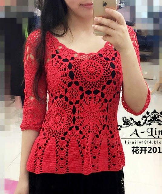 Blusa em Crochê Vermelha com Motivos * Gráficos no post http://www.katiaribeiro.com.br/2016/10/blusa-em-croche-vermelha-com-motivos.html