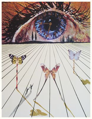 """Title: The Eye of Surrealist Time  Medium: Lithograph with color etching  Size: 20.75"""" x 16.5""""  Reference #: AF 71-15  Year: 1971"""