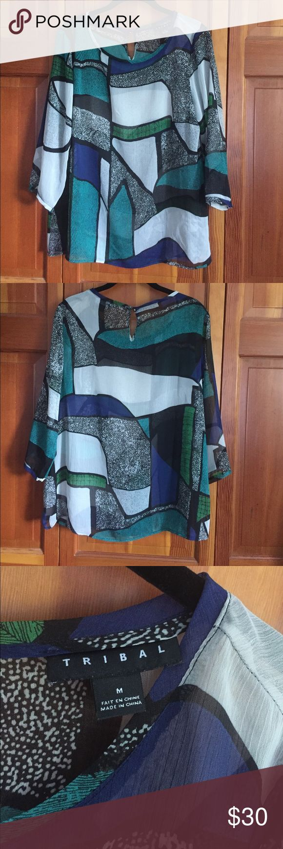 "Sheer Tribal Top Black/teal/gray/green. Super sheer and flowy! 21"" pit to pit.  26"" length. Tribal Tops Blouses"