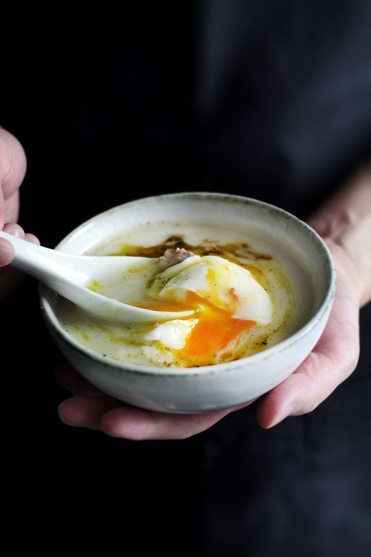 chicken and rice soup with poached egg