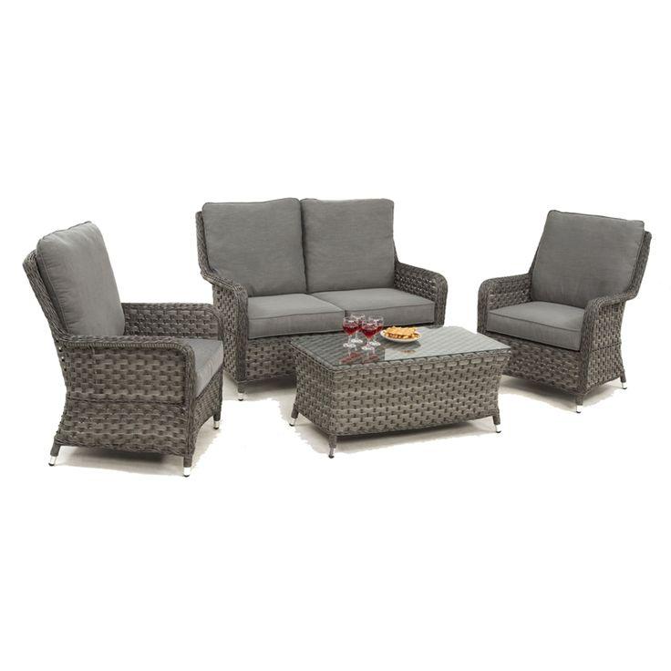 Maze Rattan Victoria High Back 2 Seat Garden Sofa Set at ...