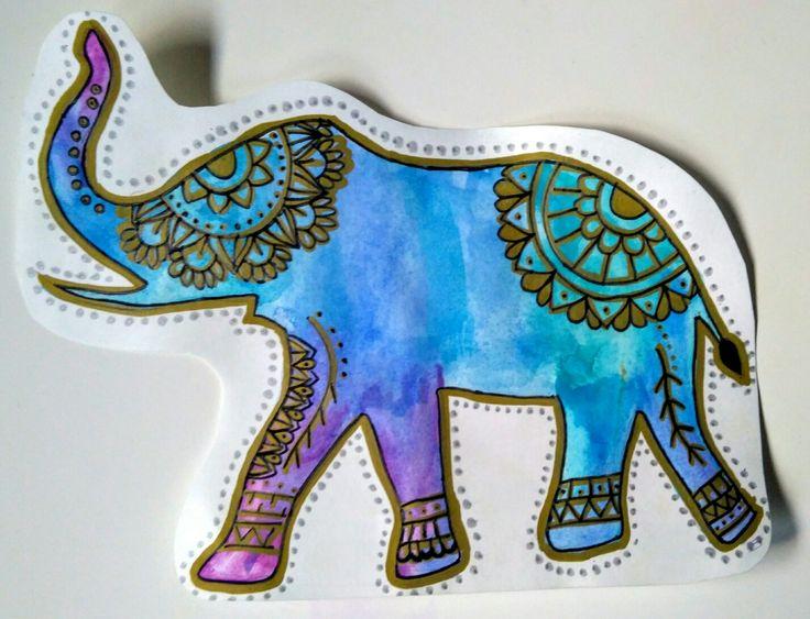 Elefante acuarela y mándala Descripción: silueta de elefante pintada con acuarela y decorada con mandalas