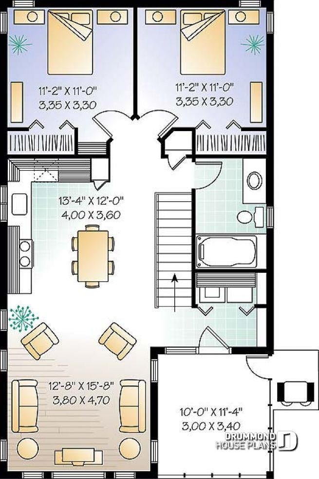 Discover The Plan 2933 The Murphy Which Will Please You For Its 2 Bedrooms And For Its Cottage Chalet Cabin Styles Garage Apartment Floor Plans House Plans Apartment Living Room Layout