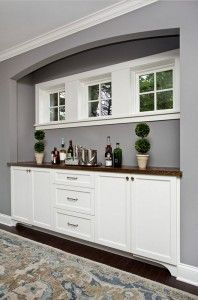 Gray wall with white cabinet. Gray wall with white cabinet paint color ideas. The gray wall paint color is Benjamin Moore Deep Silver and the white cabinet paint color is Benjamin Moore Simply White OC-117. Color of the year.