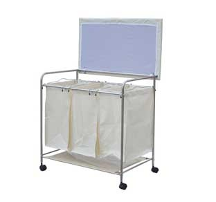 3 Bin Rolling Laundry Hamper Sorter Cart With Wheels And Ironing Board 19 1/