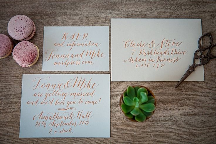 Wedding Stationery Inspiration: Grey & Copper Calligraphy Wedding Stationery | Amanda Karen Photography